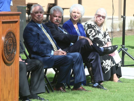 (Left to right) Rep. Drew Darby, James Archer, Lois Archer and Leslie Mayrand, dean of the Archer college attended a  grand opening and ribbon cutting ceremony held at Angelo State University in recognition of the Archer College of Health and Human Services building, Wednesday, April 4, 2018.