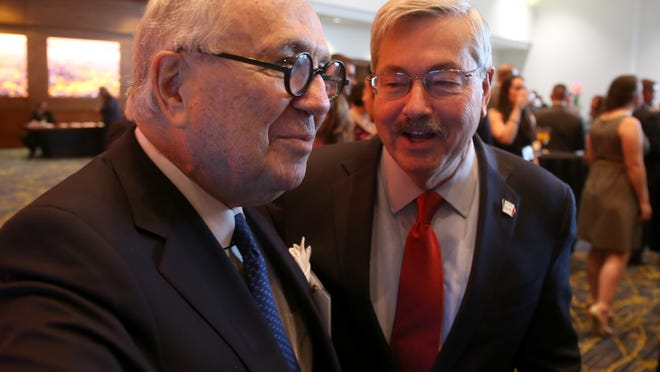 TelePharm CEO Roby Miller said Iowa entrepreneurship icon John Pappajohn, left,  invested  in the company. Pappajohn is shown with Iowa Gov. Terry Branstad.