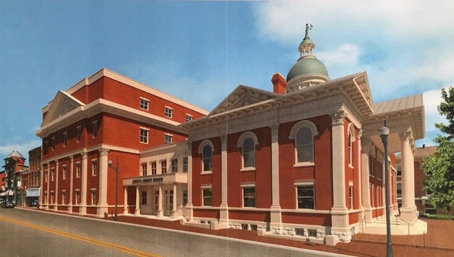 A rendering of Augusta County's proposed design for its new courthouse, as seen from South Augusta Street, unveiled at the board of supervisors meeting on May 10, 2017. The design would expand the footprint of the facility, requiring purchase and demolition of 10 properties surrounding the existing building.