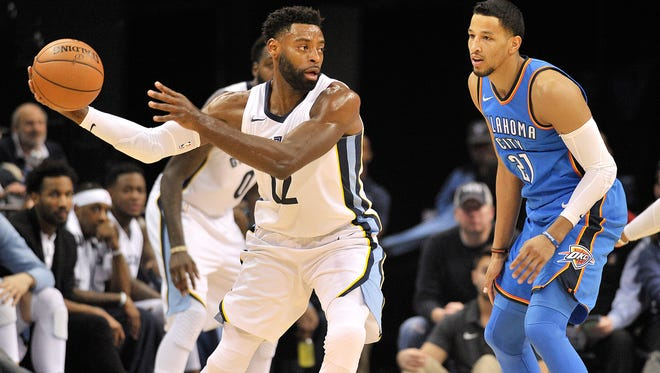 Memphis Grizzlies guard Tyreke Evans (12) controls the ball against Oklahoma City Thunder guard Andre Roberson (21) in the first half of an NBA basketball game Saturday, Dec. 9, 2017, in Memphis, Tenn. (AP Photo/Brandon Dill)