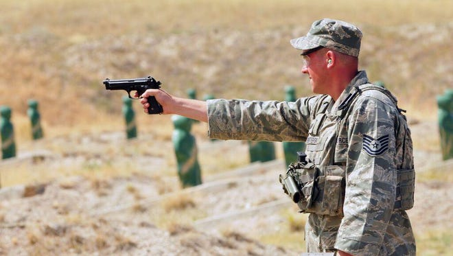 Airmen from the 120th Security Forces Squadron trained on shooting from different positions.