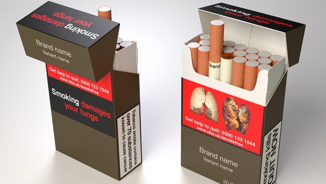 Standard cigarette packs would all feature a dark color, health warnings and graphic images of smoking damage. All brand names would appear as one-size, standard text.