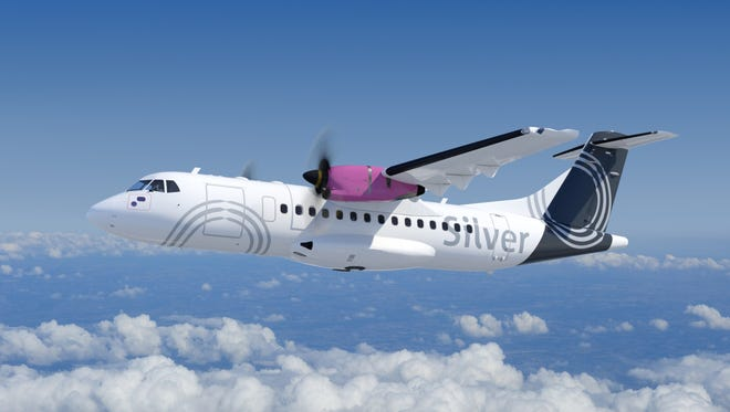 This undated image provided by ATR shows an ATR 42-600 turboprop in the colors of Silver Airways.