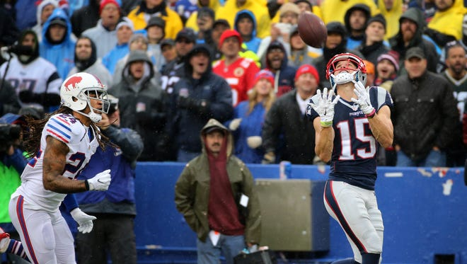 Former Bills receiver Chris Hogan (15) gets behind  cornerback Stephon Gilmore  and catches a 53 yard touchdown pass.  The Bills lost 41-25.