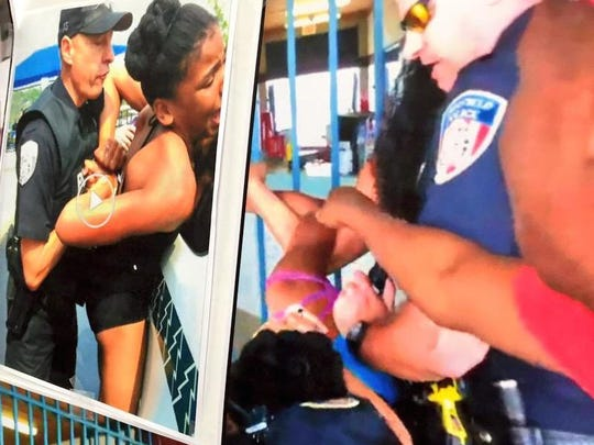 These screenshots of police response at a Fairfield pool last week were displayed at a press conference Tuesday to discuss the incident.