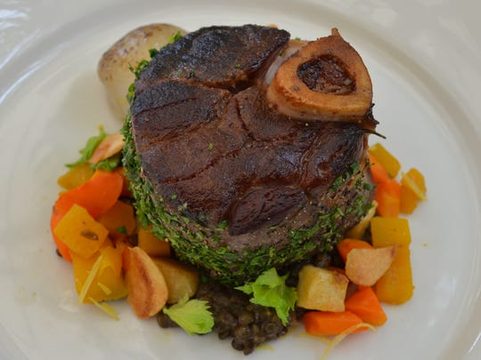 Slow-braised venison osso buco from The Frog and the Peach.