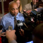 Assembly Speaker Carl Heastie, D-Bronx, talks to members of the media at the Capitol on Tuesday. The Legislature worked into early Wednesday to finalize the state budget ahead of a midnight deadline, when the state's new fiscal year begins.