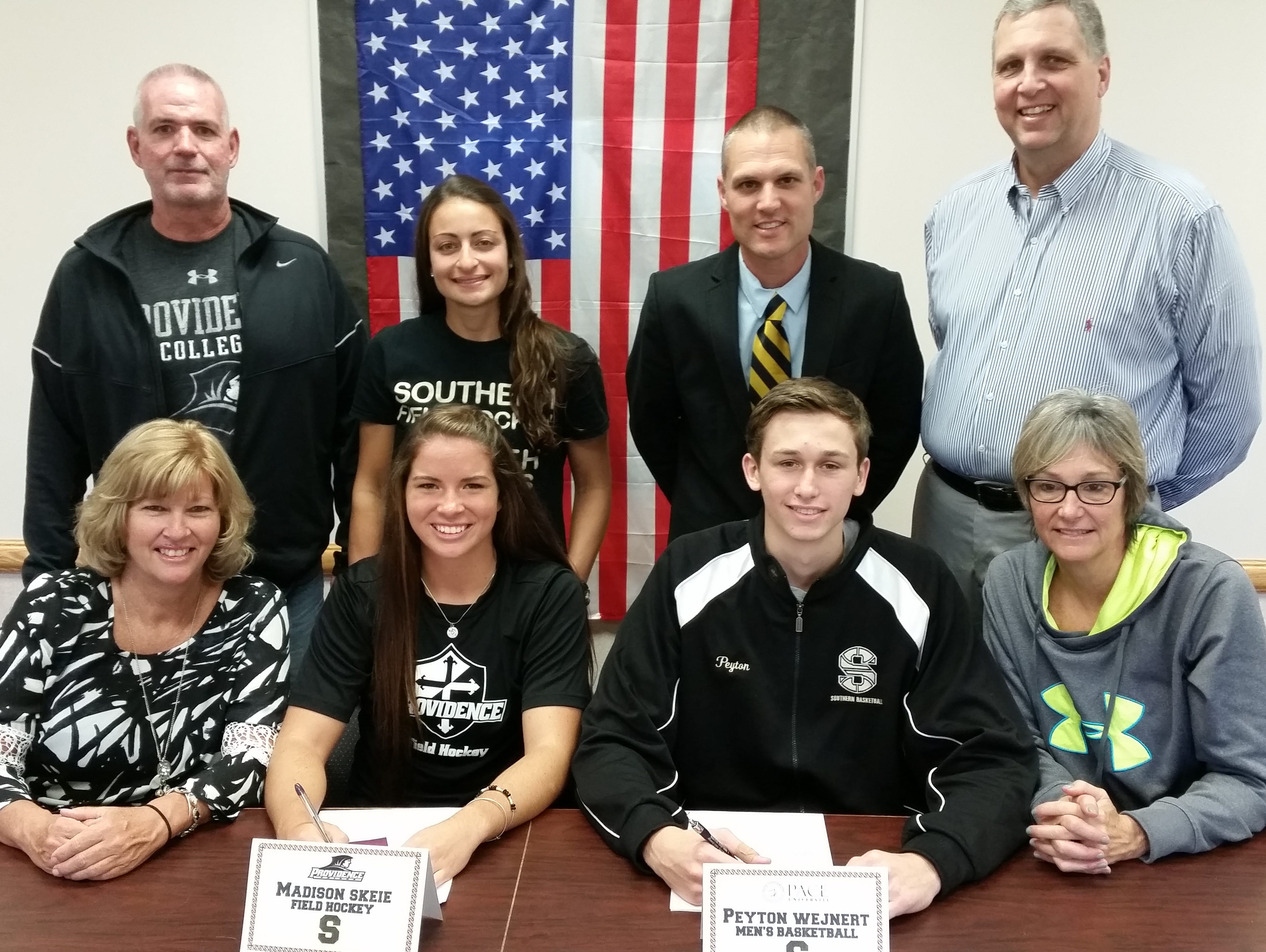 Congrats Southern Regional High School Senior Athletes Madison Skeie & Peyton Wejnert on signing their National Letters of Intent on Wednesday, November 11, 2015. Madison will continue her education and field hockey career at Providence College. Peyton will continue his education and basketball career at Pace University. They are surrounded by their parents, (Cynthia & James Skeie) (Richard & Karyn Wejnert) plus Southern Regional Field Hockey Coach Ms. Jenna Lombardo and Southern Regional Boys' Basketball Coach Mr. Eric Fierro. #RamPride