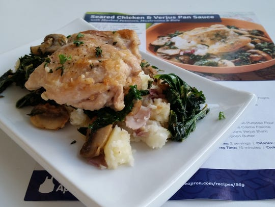 The final product of Seared Chicken & Verjus Pan Sauce.