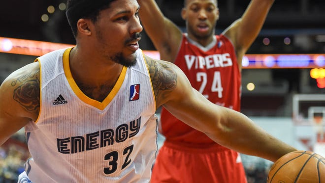 Iowa Energy's Jarnell Stokes (32) looks to the referee for a call after being fouled as Rio Grande Valley's Akil Mitchell looks on during the first half of the game at Wells Fargo Arena on Jan. 27.
