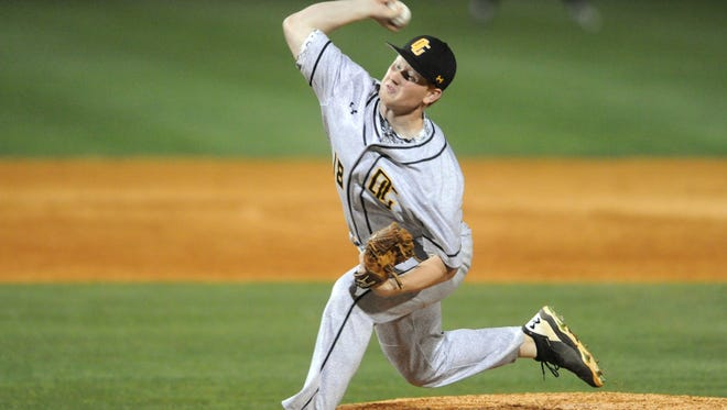 Oak Grove pitcher Conner Ingram throws the ball in a conference game against Petal on Friday.