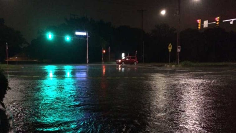 San Antonio streets flooded by heavy rainfall.