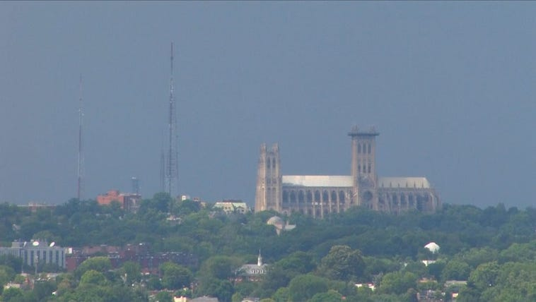 Clouds moving in over the National Cathedral
