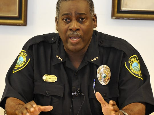 Asheville Police Department Chief William Anderson speaks at a news conference in 2012.