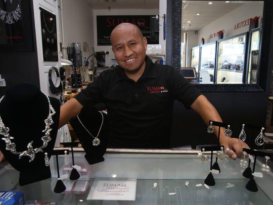 Eduardo Accostupa in his shop Sumaq Design by Eduardo