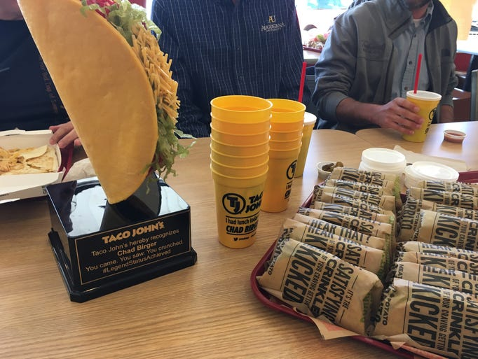 The Taco John's Taco Trophy awarded to Tea resident
