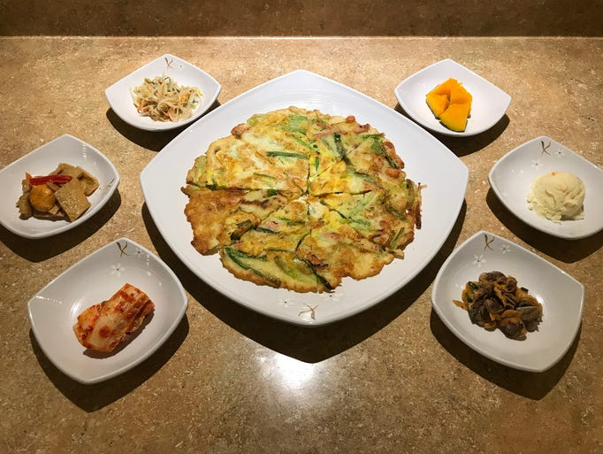 Korean pancakes and sides from Mi Dahm Korean Restaurant