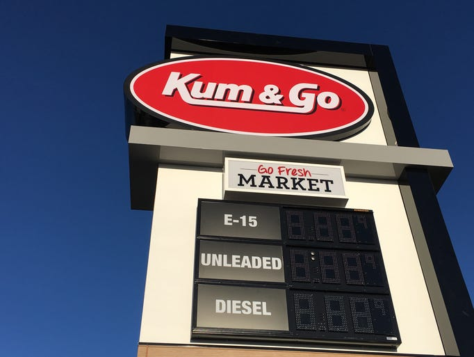 The sign along the road for the new Kum & Go at 1005