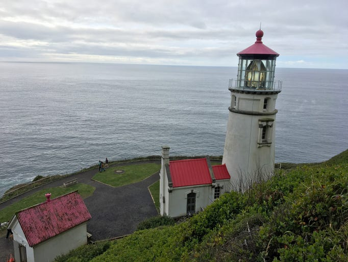 View from hiking trails of Heceta Head Lighthouse,