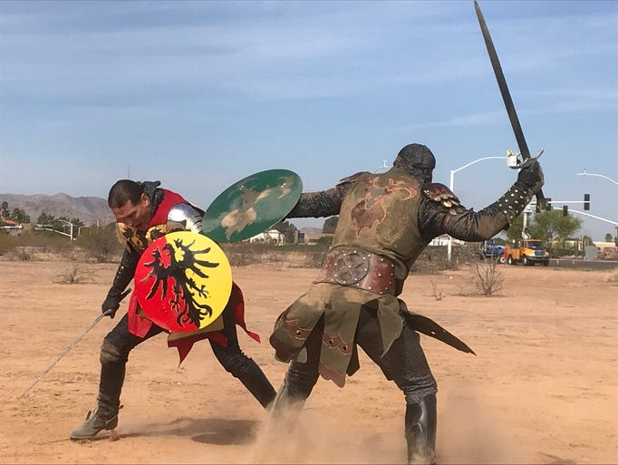 Knights battle it out at the groundbreaking of Medieval