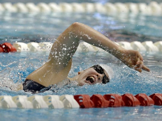 Pittsford's Lindsay Stone during the 500-yard freestyle at the Hilton Invitational in September.