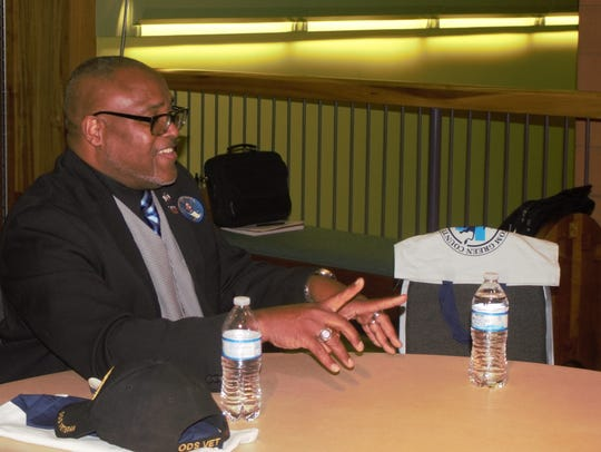 Cedric Davis before the Governor Candidate Forum in