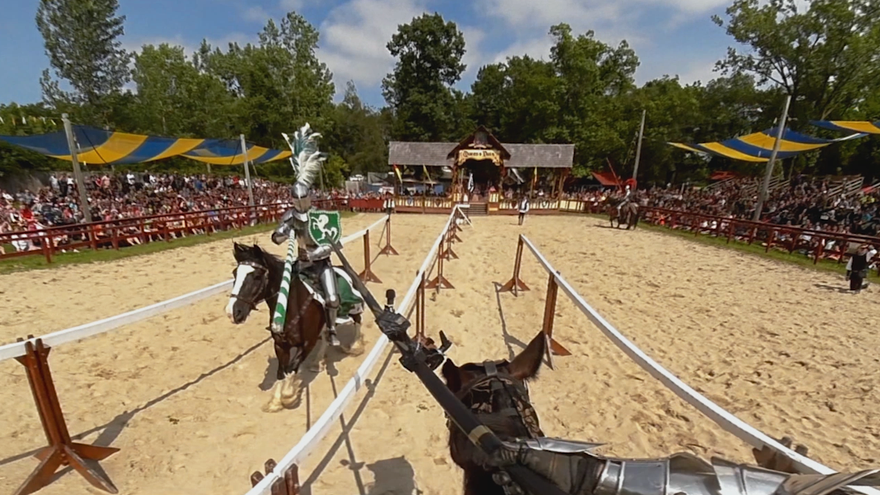 extreme jousting knights in armor clash on horseback in vr