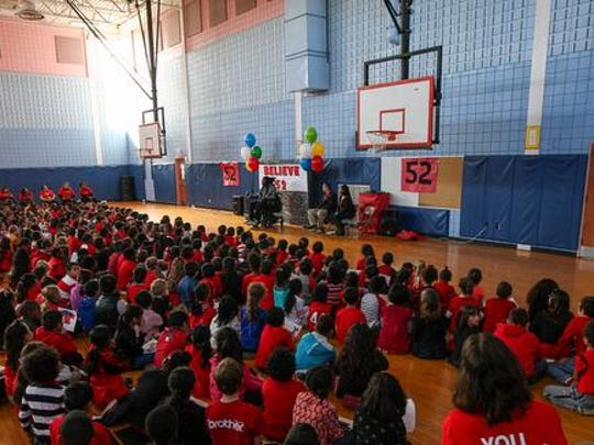 "Eric LeGrand visits Knollwood Elementary School in Piscataway for ""Eric Legrand Day"" on November 13, 2015."