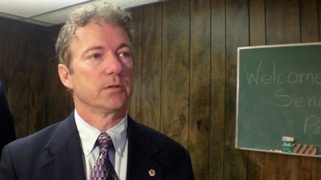 Sen. Rand Paul talked to business owners and officials gathered at the Louisville Plate Glass Co., 1401 W. Broadway.