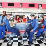 """The cast of Flat Rock Playhouse's """"Pump Boys & Dinettes"""" gets into character at Hendersonville's Pop's Diner."""