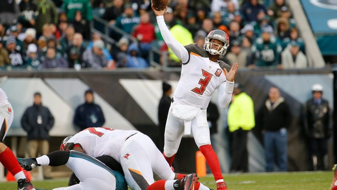 Tampa Bay Buccaneers' Jameis Winston passes during the second half of an NFL football game against the Philadelphia Eagles, Sunday, Nov. 22, 2015, in Philadelphia. (AP Photo/Julio Cortez)