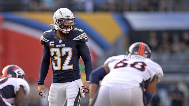 Dec 6, 2015: San Diego Chargers free safety Eric Weddle (32) looks across the line during the second quarter against the Denver Broncos at Qualcomm Stadium.