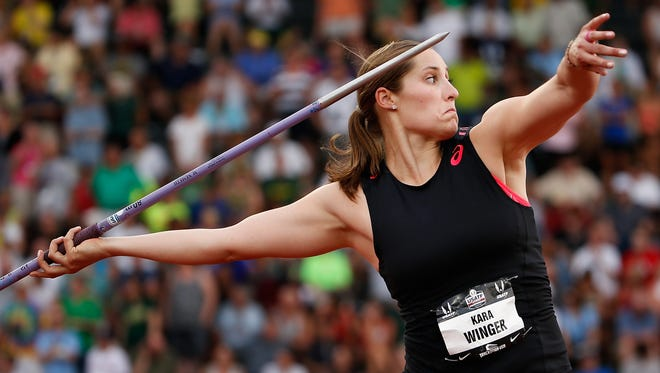 EUGENE, OR - JUNE 26:  Kara Winger competes in the Women's Javelin Throw Final during day two of the 2015 USA Outdoor Track & Field Championships at Hayward Field on June 26, 2015 in Eugene, Oregon.