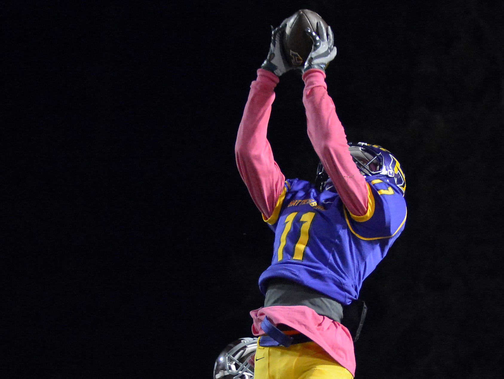 Hattiesburg's Jordan Murphy catches a pass during a game against Picayune Oct. 9 at Hattiesburg High School.