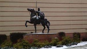 The crusader statue at Moeller High School in Kenwood.