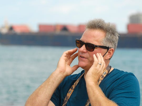Local diver Brian Martin describes how his goggles disintegrated on his face in 1985 when he encountered chemicals in the St. Clair River, Mon, Aug 25, along the Blue Water River Walk in Port Huron.