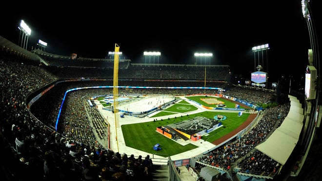 The ice held up well during the outdoor NHL game at Dodger Stadium.