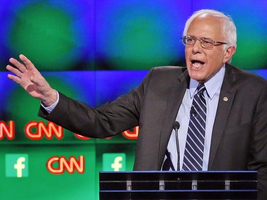 Sen. Bernie Sanders, I-Vt., speaks during a CNN Democratic