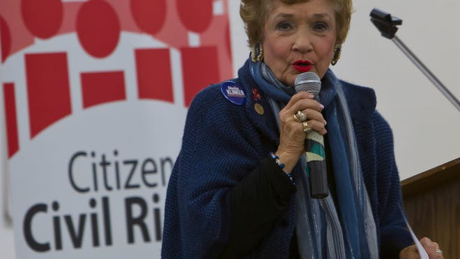 Sheila Klinker, candidate for House District 27, talks about what she would do if elected Wednesday, October 22, 2014, during candidates forum in the home economic building at the county fairgrounds in Lafayette.