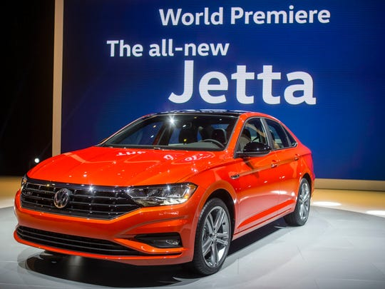 The 2019 Volkswagen Jetta R-Line is presented at the North American International Auto Show, Monday, Jan. 15, 2018, in Detroit.