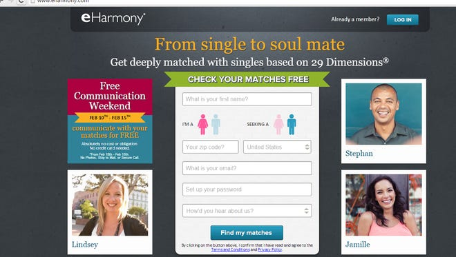 Online dating site eHarmony has 16.5 million members.