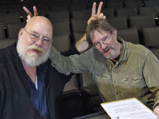 Producing director Scot Copeland and company stage manager Daniel Brewer clown around at Nashville Children's Theatre in December. The two have been friends and colleagues for more than 30 years.