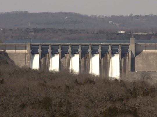 Five spillway gates at Table Rock Lake dam are seen
