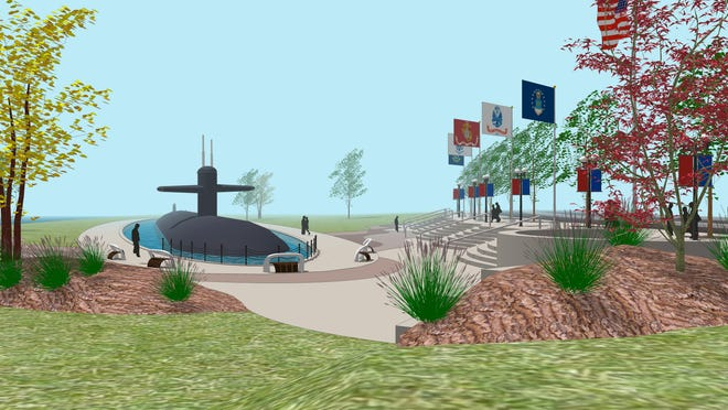 An artist's rendering depicts how the USS Cincinnati - Cold War Memorial might look near the Ohio River.