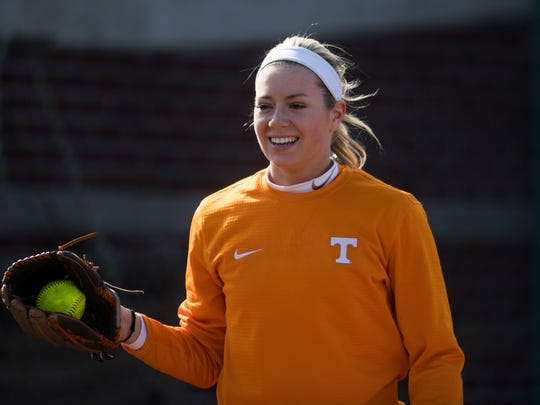 Freshman pitcher Gabby Sprang pitches during a University of Tennessee softball practice Wednesday, Jan. 31, 2018.