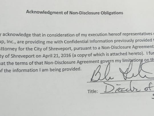 Water&Sewerage Director Barbara Featherston's signature on a June 8 nondisclosure agreement.