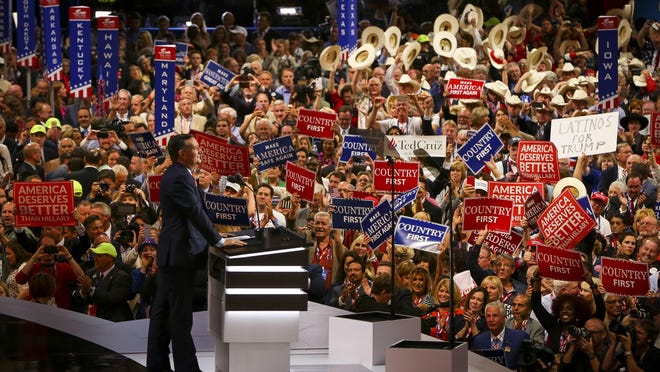 Former presidential candidate Ted Cruz delivers his speech Wednesday without endorsing Donald Trump during the 2016 Republican National Convention in Cleveland.