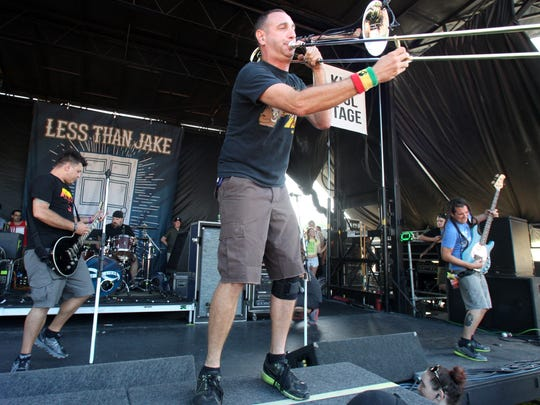 Less Than Jake plays the 2014 Vans Warped Tour at the PNC Bank Arts Center in Holmdel on July 6.