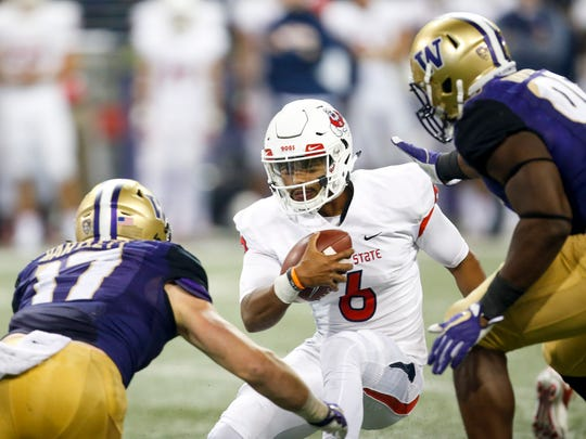 Fresno State quarterback Marcus McMaryion is one of two quarterbacks used by the Bulldogs this season.