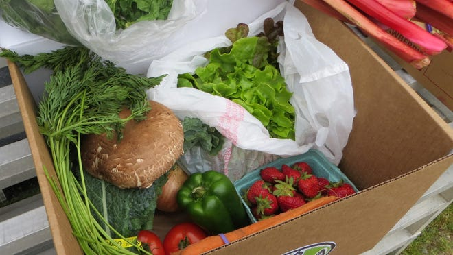 A produce box delivered from Gathering Renewals.